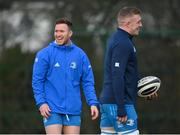 22 December 2020; Rory O'Loughlin, left, and Dan Leavy during Leinster Rugby squad training at UCD in Dublin. Photo by Ramsey Cardy/Sportsfile