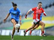 20 December 2020; Sinéad Goldrick of Dublin in action against Hannah Looney of Cork during the TG4 All-Ireland Senior Ladies Football Championship Final match between Cork and Dublin at Croke Park in Dublin. Photo by Piaras Ó Mídheach/Sportsfile