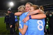 20 December 2020; Dublin players, from left, Nicole Owens, Jennifer Dunne, and Lauren Magee celebrate after the TG4 All-Ireland Senior Ladies Football Championship Final match between Cork and Dublin at Croke Park in Dublin. Photo by Piaras Ó Mídheach/Sportsfile