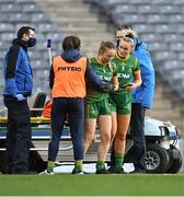 20 December 2020; Vikki Wall of Meath, right, checks on her sister Sarah Wall of Meath after she got injured during the TG4 All-Ireland Intermediate Ladies Football Championship Final match between Meath and Westmeath at Croke Park in Dublin. Photo by Piaras Ó Mídheach/Sportsfile