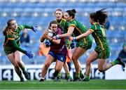 20 December 2020; Lucy McCartan of Westmeath in action against Meath players, from left, Orlagh Lally, Aoibheann Leahy, Máire O'Shaughnessy, and Emma Duggan during the TG4 All-Ireland Intermediate Ladies Football Championship Final match between Meath and Westmeath at Croke Park in Dublin. Photo by Piaras Ó Mídheach/Sportsfile