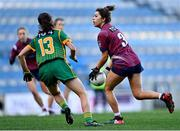 20 December 2020; Lucy Power of Westmeath in action against Niamh O'Sullivan of Meath during the TG4 All-Ireland Intermediate Ladies Football Championship Final match between Meath and Westmeath at Croke Park in Dublin. Photo by Piaras Ó Mídheach/Sportsfile