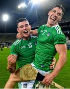13 December 2020; Gearóid Hegarty, left, and Seán Finn of Limerick celebrate following the GAA Hurling All-Ireland Senior Championship Final match between Limerick and Waterford at Croke Park in Dublin. Photo by Ramsey Cardy/Sportsfile