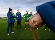 24 November 2020; Manager Vera Pauw speaks to players as Denise O'Sullivan tries to get into the photograph during a Republic of Ireland Women training session at the FAI National Training Centre in Abbotstown, Dublin. Photo by Stephen McCarthy/Sportsfile