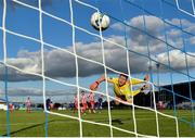 26 September 2020; Sligo Rovers goalkeeper Ed McGinty watches as a shot from Waterford's Matthew Smith hits the back of the net during the SSE Airtricity League Premier Division match between Waterford and Sligo Rovers at the RSC in Waterford. Photo by Seb Daly/Sportsfile