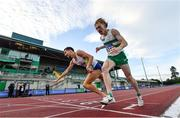 23 August 2020; Paul Robinson of St. Coca's AC, Kildare, left, crosses the finish line to win the Men's 1500m, ahead of Sean Tobin of Clonmel AC, Tipperary, right, who finished second, during Day Two of the Irish Life Health National Senior and U23 Athletics Championships at Morton Stadium in Santry, Dublin. Due to ongoing restrictions imposed by the Irish Government to contain the spread of the Coronavirus (Covid-19) pandemic, elite sport is still permitted to take place behind closed doors. Photo by Sam Barnes/Sportsfile