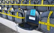 31 July 2020; A general view of one seat available alongside others that are blocked off due to social distancing before the SSE Airtricity League Premier Division match between Dundalk and St Patrick's Athletic at Oriel Park in Dundalk, Louth. The SSE Airtricity League Premier Division made its return today after 146 days in lockdown but behind closed doors due to the ongoing Coronavirus restrictions. Photo by Piaras Ó Mídheach/Sportsfile