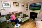 8 June 2020; Race horse trainer Jessica Harrington watches horse racing from Naas racecourse on television from her home at Commonstown Stables in Moone, Kildare, under public health advice from the Health Service Executive. Horse racing has been allowed to resume on June 8 under the Irish Government's Roadmap for Reopening of Society and Business following strict protocols of social distancing and hand sanitisation among other measures allowing it to return in a phased manner, having been suspended from March 25 due to the Government's efforts to contain the spread of the Coronavirus (COVID-19) pandemic. Photo by Ramsey Cardy/Sportsfile