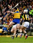 23 February 2020; John Conlon of Clare in action against Kilkenny defenders Conor Browne and Conor Delaney during the Allianz Hurling League Division 1 Group B Round 4 match between Kilkenny and Clare at UPMC Nowlan Park in Kilkenny. Photo by Ray McManus/Sportsfile