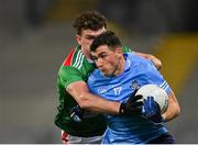 19 December 2020; Colm Basquel of Dublin in action against Jordan Flynn of Mayo during the GAA Football All-Ireland Senior Championship Final match between Dublin and Mayo at Croke Park in Dublin. Photo by Piaras Ó Mídheach/Sportsfile