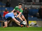 19 December 2020; John Small of Dublin in action against Cillian O'Connor of Mayo during the GAA Football All-Ireland Senior Championship Final match between Dublin and Mayo at Croke Park in Dublin. Photo by Piaras Ó Mídheach/Sportsfile