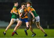 22 December 2020; Fionn Kelleher of Clare in action against Cian McMahon of Kerry during the Electric Ireland Munster GAA Football Minor Championship Final match between Kerry and Clare at LIT Gaelic Grounds in Limerick. Photo by Eóin Noonan/Sportsfile