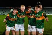 22 December 2020; Kerry players, from left, Dara O'Callaghan, Joey Nagle, Cian McMahon and Jack McElligott celebrate following the Electric Ireland Munster GAA Football Minor Championship Final match between Kerry and Clare at LIT Gaelic Grounds in Limerick. Photo by Eóin Noonan/Sportsfile