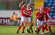 23 December 2020; Olivia Gibson of Cork City, left, celebrates with team-mates including Meghan Carr, after scoring her side's first goal from the penalty spot during the Women's Under-17 National League Final match between Shamrock Rovers and Cork City at Athlone Town Stadium in Athlone, Westmeath. Photo by Sam Barnes/Sportsfile