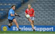 20 December 2020; Orla Finn of Cork in action against Aoife Kane of Dublin during the TG4 All-Ireland Senior Ladies Football Championship Final match between Cork and Dublin at Croke Park in Dublin. Photo by Brendan Moran/Sportsfile