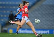 20 December 2020; Áine O'Sullivan of Cork scores her side's first goal during the TG4 All-Ireland Senior Ladies Football Championship Final match between Cork and Dublin at Croke Park in Dublin. Photo by Brendan Moran/Sportsfile