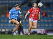 20 December 2020; Aoife Kane of Dublin in action against Áine O'Sullivan of Cork during the TG4 All-Ireland Senior Ladies Football Championship Final match between Cork and Dublin at Croke Park in Dublin. Photo by Brendan Moran/Sportsfile