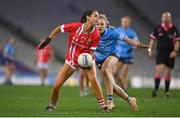 20 December 2020; Eimear Meaney of Cork in action against Nicole Owens of Dublin during the TG4 All-Ireland Senior Ladies Football Championship Final match between Cork and Dublin at Croke Park in Dublin. Photo by Brendan Moran/Sportsfile