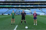 20 December 2020; Team captains Máire O'Shaughnessy of Meath and Fiona Claffey of Westmeath with referee Seamus Mulvihill prior to the TG4 All-Ireland Intermediate Ladies Football Championship Final match between Meath and Westmeath at Croke Park in Dublin. Photo by Brendan Moran/Sportsfile