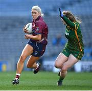 20 December 2020; Lorraine Duncan of Westmeath in action against Orlagh Lally of Meath during the TG4 All-Ireland Intermediate Ladies Football Championship Final match between Meath and Westmeath at Croke Park in Dublin. Photo by Brendan Moran/Sportsfile