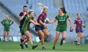 20 December 2020; Lorraine Duncan of Westmeath in action against Stacey Grimes, left, and Orlagh Lally of Meath during the TG4 All-Ireland Intermediate Ladies Football Championship Final match between Meath and Westmeath at Croke Park in Dublin. Photo by Brendan Moran/Sportsfile