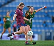 20 December 2020; Anna Jones of Westmeath in action against Máire O'Shaughnessy of Meath during the TG4 All-Ireland Intermediate Ladies Football Championship Final match between Meath and Westmeath at Croke Park in Dublin. Photo by Brendan Moran/Sportsfile