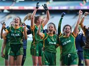 20 December 2020; Meath players, from left, Niamh Gallogly, Niamh O'Sullivan and Shauna Ennis celebrate after the TG4 All-Ireland Intermediate Ladies Football Championship Final match between Meath and Westmeath at Croke Park in Dublin. Photo by Brendan Moran/Sportsfile