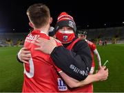23 December 2020; Cork manager Pat Ryan celebrates with Eoin Carey after the Bord Gáis Energy Munster GAA Hurling U20 Championship Final match between Cork and Tipperary at Páirc Uí Chaoimh in Cork. Photo by Piaras Ó Mídheach/Sportsfile