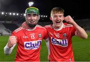 23 December 2020; Cork players Brian Roche, left, and Eoin Carey celebrate after the Bord Gáis Energy Munster GAA Hurling U20 Championship Final match between Cork and Tipperary at Páirc Uí Chaoimh in Cork. Photo by Piaras Ó Mídheach/Sportsfile