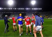 23 December 2020; Tipperary and Cork players after the full-time whistle at the Bord Gáis Energy Munster GAA Hurling U20 Championship Final match between Cork and Tipperary at Páirc Uí Chaoimh in Cork. Photo by Piaras Ó Mídheach/Sportsfile