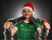 24 December 2020; Republic of Ireland's Leanne Kiernan poses in a Christmas hat during a portrait session at the Castleknock Hotel in Dublin. Photo by Stephen McCarthy/Sportsfile