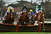 26 December 2020; Micro Manage, right, with Patrick Mullins up, jumps the last alongside eventual second place Gee Rex, left, with Jack Brendan Foley up, and Irish Poseidon, centre, with Sean Flanagan up, on their way to finshing third in the 'Join tote.ie With A €10 Risk Free Bet' Maiden Hurdle on day one of the Leopardstown Christmas Festival at Leopardstown Racecourse in Dublin. Photo by Seb Daly/Sportsfile