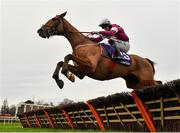 26 December 2020; Wide Receiver, with Jack Kennedy up, jumps the last on their way to winning the Thorntons Recycling Maiden Hurdle on day one of the Leopardstown Christmas Festival at Leopardstown Racecourse in Dublin. Photo by Seb Daly/Sportsfile