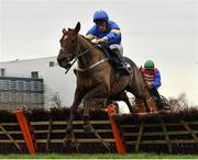 26 December 2020; Dysart Diamond, with David Mullins up, jumps the last on their way to winning the Holden Plant Rentals Novice Handicap Hurdle on day one of the Leopardstown Christmas Festival at Leopardstown Racecourse in Dublin. Photo by Seb Daly/Sportsfile