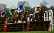 26 December 2020; Dysart Diamond, left, with David Mullins up, jumps the last on their way to winning the Holden Plant Rentals Novice Handicap Hurdle on day one of the Leopardstown Christmas Festival at Leopardstown Racecourse in Dublin. Photo by Seb Daly/Sportsfile