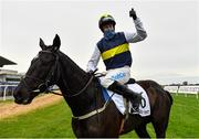 26 December 2020; Jockey Bryan Cooper celebrates after riding Franco De Port to victory in the Racing Post Novice Steeplechase on day one of the Leopardstown Christmas Festival at Leopardstown Racecourse in Dublin. Photo by Seb Daly/Sportsfile