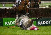26 December 2020; Jan Maat and jockey Hugh Morgan fall at the last during the 'Bet Through The Free Racing Post App' Handicap Steeplechase on day one of the Leopardstown Christmas Festival at Leopardstown Racecourse in Dublin. Photo by Seb Daly/Sportsfile