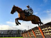 27 December 2020; French Aseel, with Denis O'Regan up, jumps the first on their way to winning the Paddy Power 'Only 4 More Days Until 2021' 3-Y-O Maiden Hurdle on day two of the Leopardstown Christmas Festival at Leopardstown Racecourse in Dublin. Photo by Seb Daly/Sportsfile