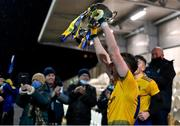 26 December 2020; Roscommon captain Eoin Colleran lifts the trophy following the Electric Ireland Connacht GAA Football Minor Championship Final match between Roscommon and Sligo at Connacht Centre of Excellence in Bekan, Mayo. Photo by Ramsey Cardy/Sportsfile