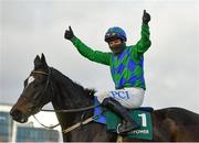 27 December 2020; Jockey Paul Townend celebrates after riding Appreciate It to victory in the Paddy Power Future Champions Novice Hurdle on day two of the Leopardstown Christmas Festival at Leopardstown Racecourse in Dublin. Photo by Seb Daly/Sportsfile