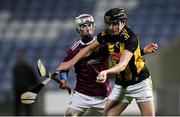 18 December 2020; TJ Brennan of Galway in action against Donal O'Shea of Galway during the Bord Gáis Energy Leinster Under 20 Hurling Championship Semi-Final match between Kilkenny and Galway at MW Hire O'Moore Park in Portlaoise, Laois. Photo by Piaras Ó Mídheach/Sportsfile