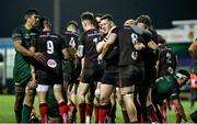 27 December 2020; Ian Madigan, centre right, of Ulster congratulates team-mate Nick Timoney after he scored their side's second try during the Guinness PRO14 match between Connacht and Ulster at The Sportsground in Galway. Photo by John Dickson/Sportsfile