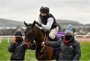 28 December 2020; Jockey Jonathan Moore and Flooring Porter following victory in the Leopardstown Christmas Hurdle on day three of the Leopardstown Christmas Festival at Leopardstown Racecourse in Dublin. Photo by Seb Daly/Sportsfile