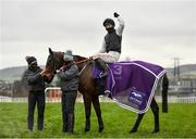 28 December 2020; Jockey Jonathan Moore celebrates after riding Flooring Porter to victory in the Leopardstown Christmas Hurdle on day three of the Leopardstown Christmas Festival at Leopardstown Racecourse in Dublin. Photo by Seb Daly/Sportsfile
