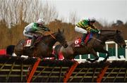 28 December 2020; Burlesque Queen, left, with James O'Sullivan up, jumps the last alongside eventual second place Western Boy, with Aidan Kelly up, on their way to winning the Irish Daily Star Christmas Handicap Hurdle on day three of the Leopardstown Christmas Festival at Leopardstown Racecourse in Dublin. Photo by Seb Daly/Sportsfile