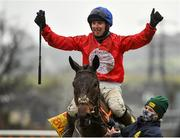 28 December 2020; Jockey Darragh O'Keeffe celebrates after riding A Plus Tard to victory in the Savills Steeplechase on day three of the Leopardstown Christmas Festival at Leopardstown Racecourse in Dublin. Photo by Seb Daly/Sportsfile