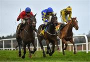 28 December 2020; Jockey Darragh O'Keeffe, left, celebrates as he passes the finishing post after riding A Plus Tard to victory in the Savills Steeplechase, ahead of second and third places Kemboy, centre, with David Mullins up, and Melon, right, with Patrick Mullins up, on day three of the Leopardstown Christmas Festival at Leopardstown Racecourse in Dublin. Photo by Seb Daly/Sportsfile