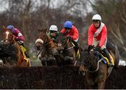 28 December 2020; A Plus Tard, second from right, with Darragh O'Keeffe up, jumps the seventh on their way to winning the Savills Steeplechase on day three of the Leopardstown Christmas Festival at Leopardstown Racecourse in Dublin. Photo by Seb Daly/Sportsfile
