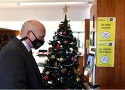 29 December 2020; FAI President Gerry McAnaney has his temperature checked upon arriving to the FAI AGM at FAI Headquarters in Abbotstown, Dublin. Photo by Eóin Noonan/Sportsfile