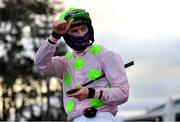 29 December 2020; Jockey Patrick Mullins after riding Sharjah to victory in the Matheson Hurdle on day four of the Leopardstown Christmas Festival at Leopardstown Racecourse in Dublin. Photo by Seb Daly/Sportsfile